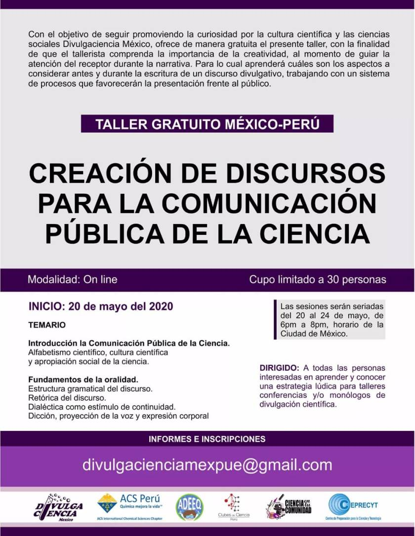 TALLER GRATUITO DE DIVULGACIÓN CIENTÍTFICA